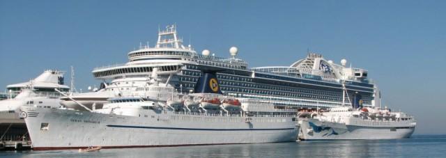Veel cruiseschepen