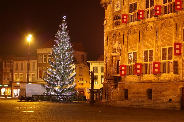 De kerstboom op de markt in Gouda