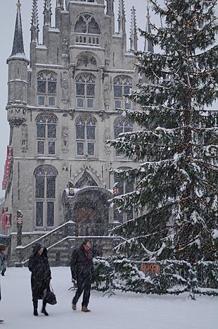 Sneeuw op de markt