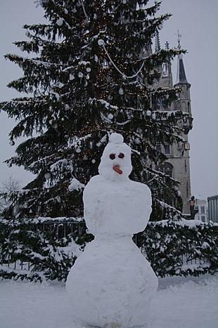 Sneeuwman op de markt