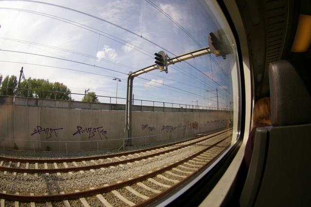 Onderweg met een fish-eye lens in de trein